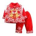 Bebé del Año Nuevo Chino Bendición Exquisito Bordado Estilo Nacional juego de la Espiga de Algodón Acolchado Chaqueta + Pantalones Chilren ropa Conjuntos