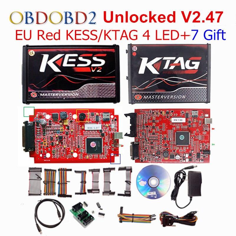 V2.47 En Ligne L'UE Rouge KESS V2 5.017 Maître OBD2 Gestionnaire Tuning Kit KESS V5.017 4 LED KTAG V7.020 BDM Cadre k-TAG 7.020 ECU Chip