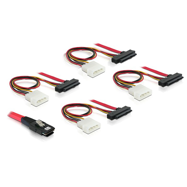 Cablecc SF-002-1M LSI 3Ware Molex Mini SAS SFF 8087 to SFF 8482 and Power x4 SAS Cable 3.28ft
