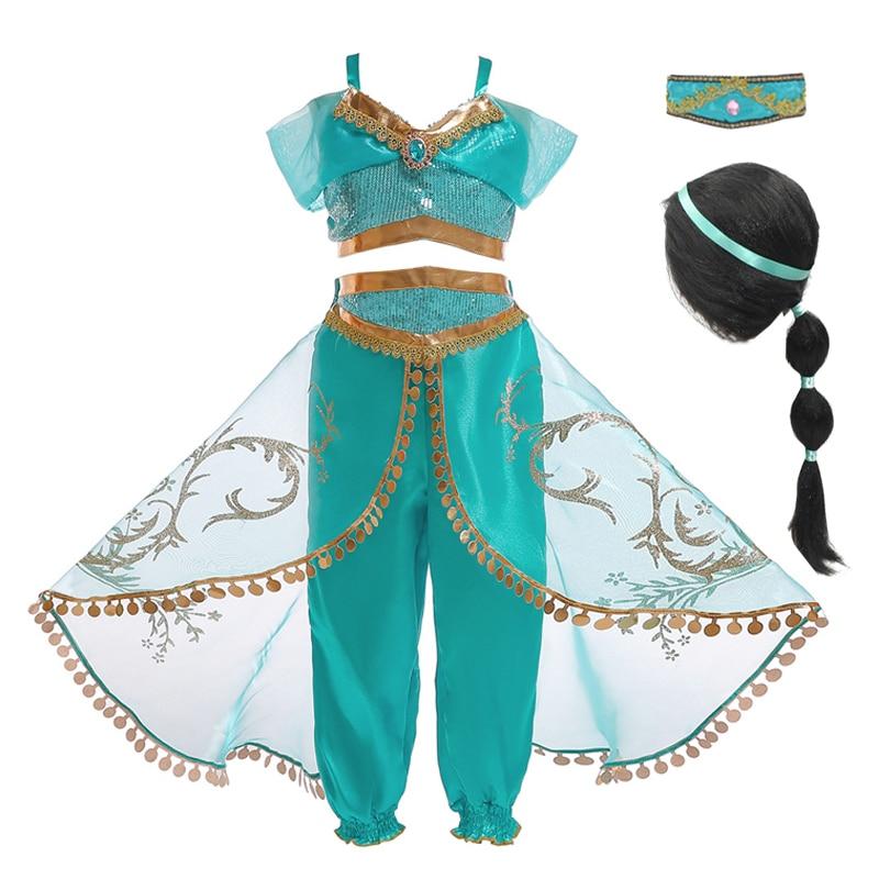 Arabian Princess Jasmine Dress For Girls Jasmine Cosplay Costume Kids Sleeveless Sequined Halloween Sets Fantasy Girls Clothing(China)