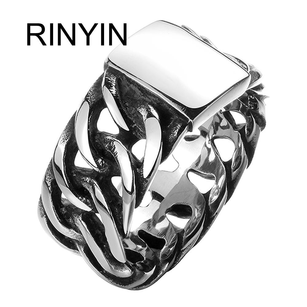 Hot Sale Finger Art Antique Silver Retro Titanium Stainless Steel Buddha Ring Punk Biker Jewelry Wide Chain Ring