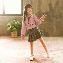 fa25e83c9752e طفل الفتيات الاطفال الملابس جولة طوق تي شيرتات طويلة الأكمام اللباس 2 Pcs  عالية الجودة العمر