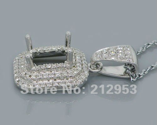 065ct diamond pendant mountings emerald cut 5x7mm solid 14kt white 065ct diamond pendant mountings emerald cut 5x7mm solid 14kt white gold engagement setting in pendants from jewelry accessories on aliexpress mozeypictures Choice Image