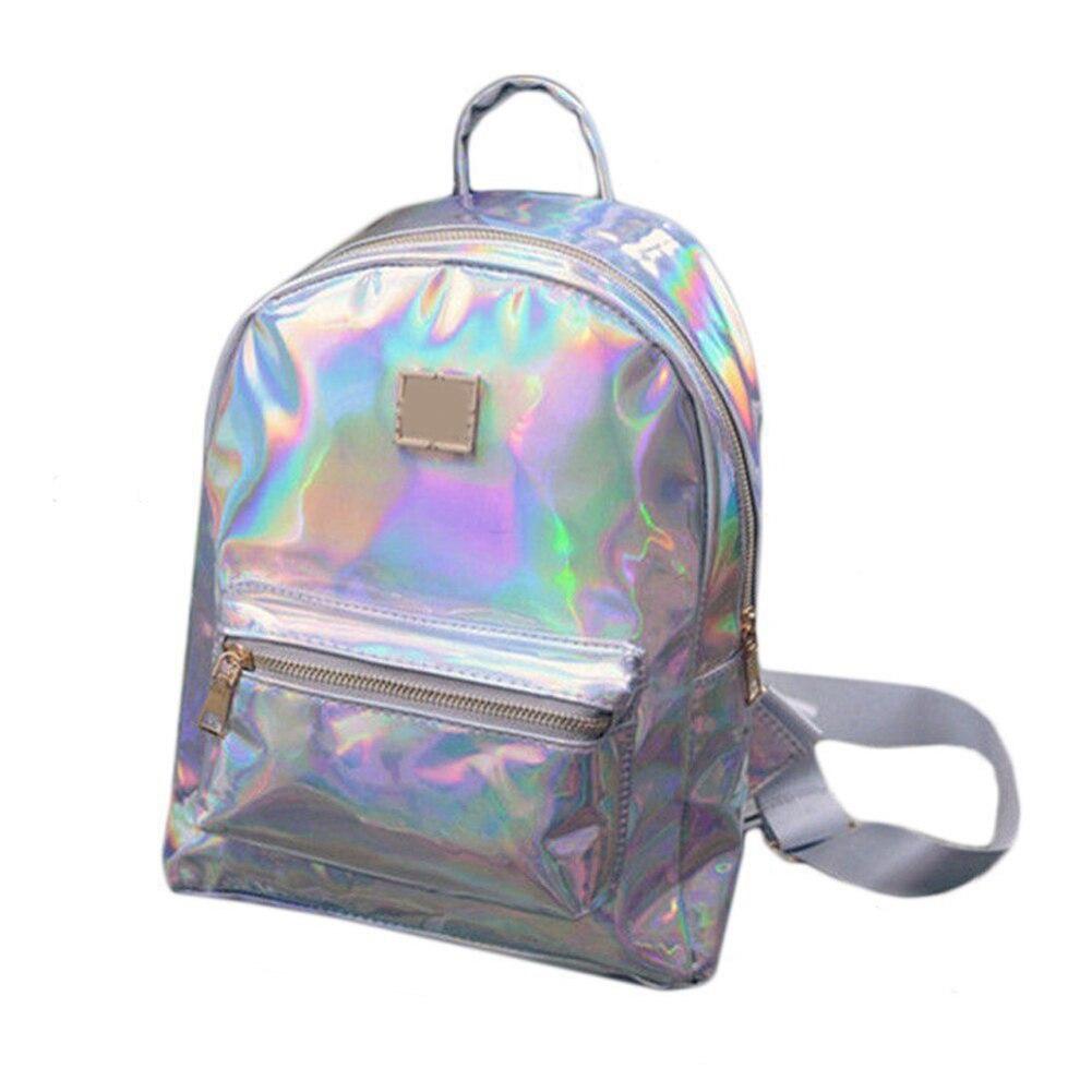 Women Fashion Faux Leather Zipper Reflective Backpack Travel Shoulder School BagMujer Femmes Rucksack zaino mochila