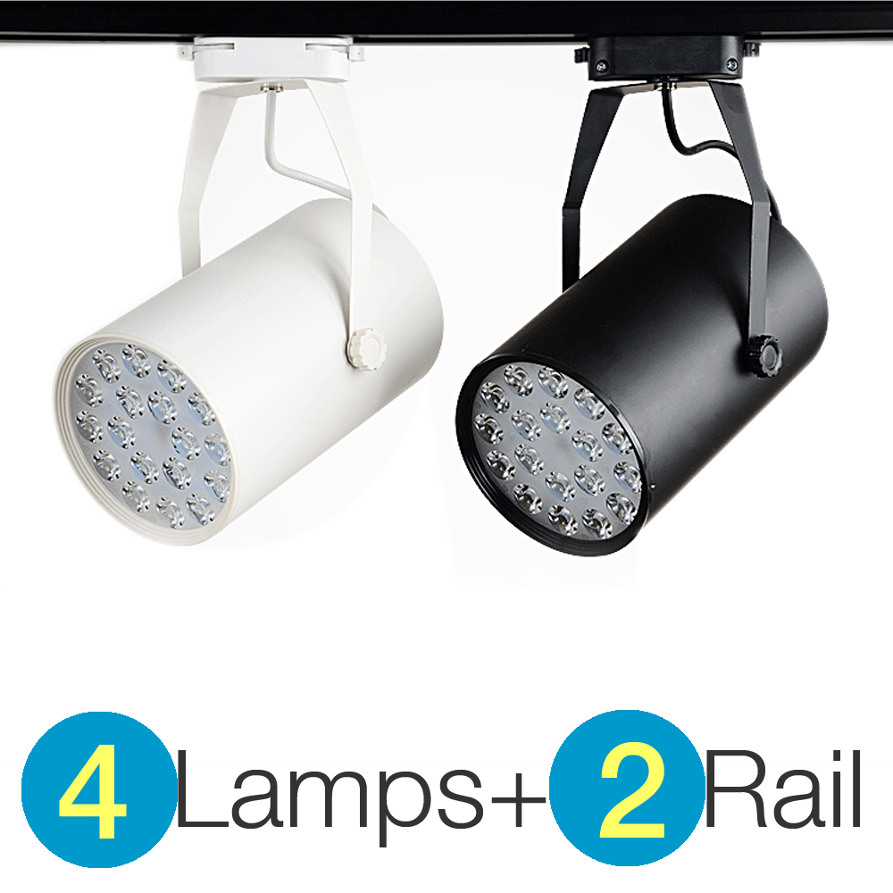 Commercial Retail Light Fixtures: 4+2 High Power LED Track Light 7W / 12W / 18W Rail