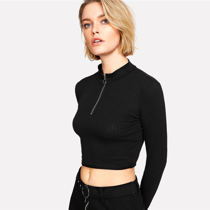 Ring Zip Up Front Ribbed Crop Tee Zipper Stand Collar T-Shirt