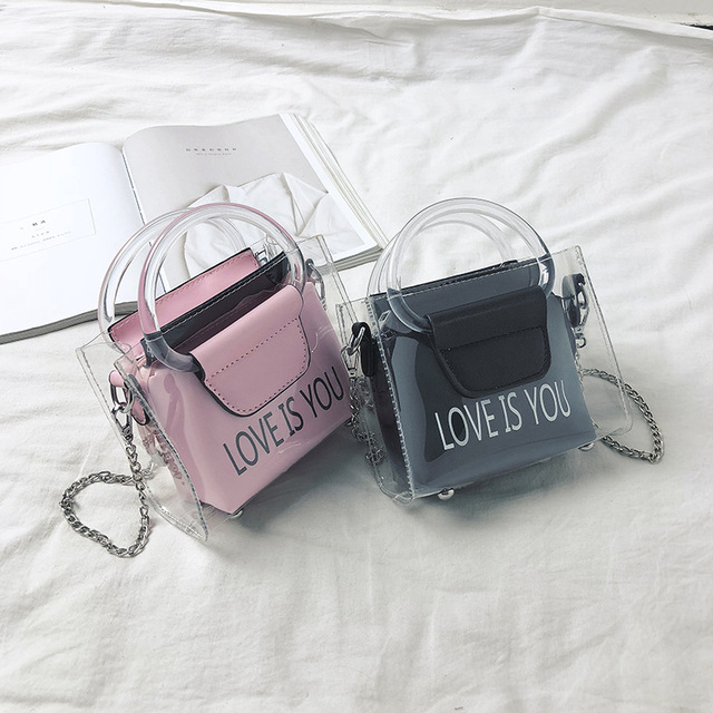 1cd151680624 2018 New Fashion Women Messenger Bags Korean Version Of Wild Letter  Diagonal Tweezers Mother Bag Mini Girl Transparent Tote Bag