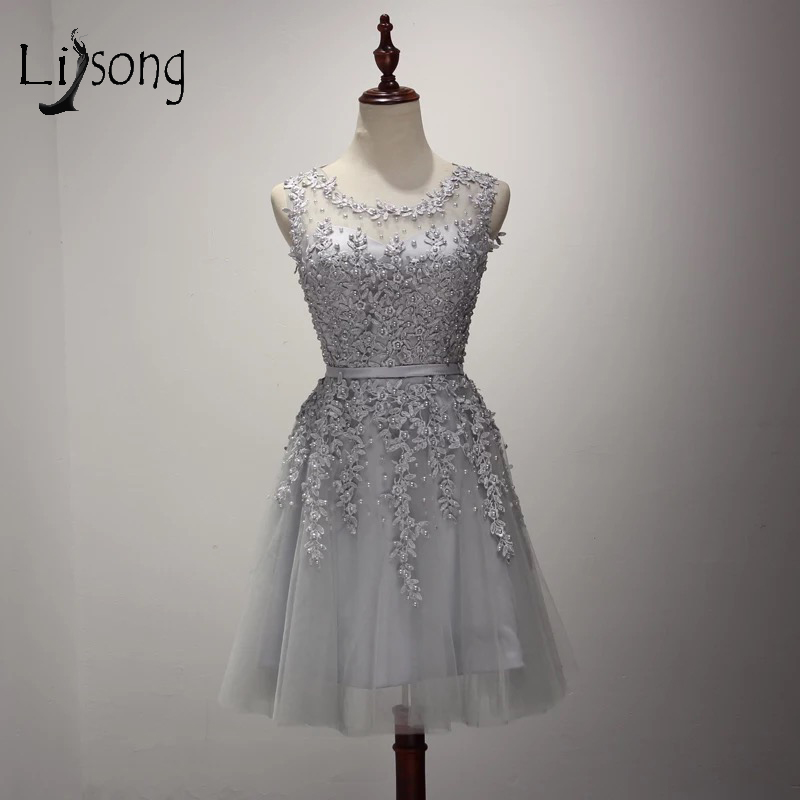 2017 New Light Gray Pearls   Cocktail     Dress   Appliques Tulle Knee Length Graduation   Dresses   For 8th Grade Robe De   Cocktail   A111