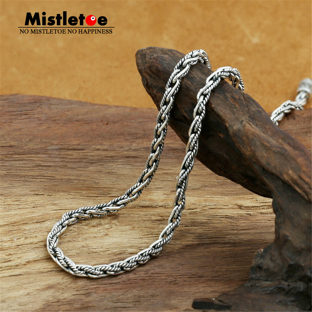 Authentic 100% 925 Sterling Silver Classic Vintage 4mm Rope Necklace Chain Jewelry For Women Or Men faux leather rope vintage necklace