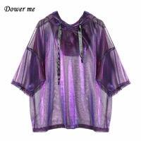 Fashion Bling Purple Women Shirt Casual Short Sleeve Ladies Hooded T Shirts Female Loose Slim Tops