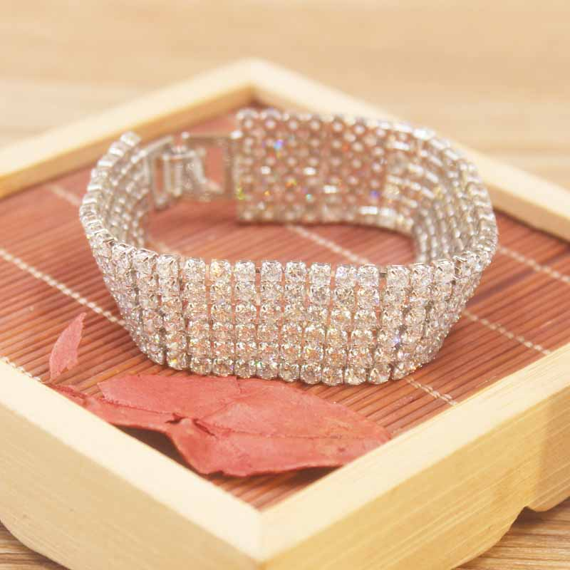 Women Jewelry Chain Rhinestone Bride Wedding Crystal Fashion Brand Designer6-Lines