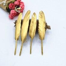 20 stks mooie spray gold duck veren & DIY naaien decoratieve handwerk accessoires
