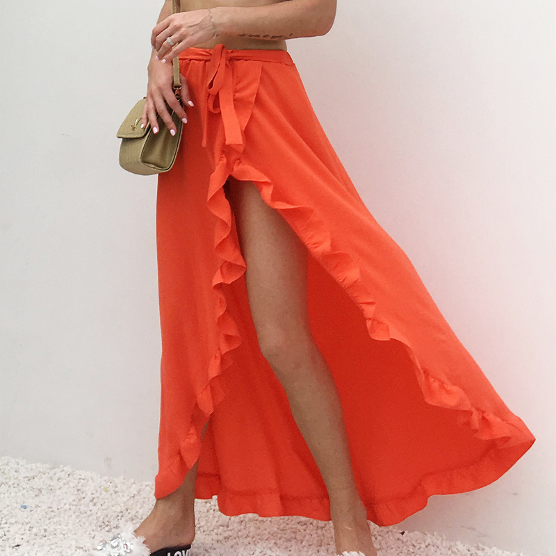 Ruffle Solid Beach Summer Long Maxi Skirt Womens Boho 2018 Side Split White Black Yellow Elastic Waist High Waist Skirts Clothes