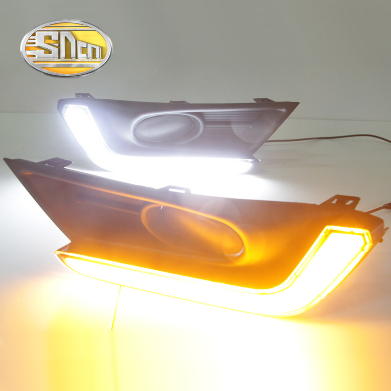 SNCN 2PCS LED Daytime Running Light For Honda CR-V CRV 2017 2018 Yellow Turn Signal Relay Waterproof 12V DRL Fog Lamp Decoration