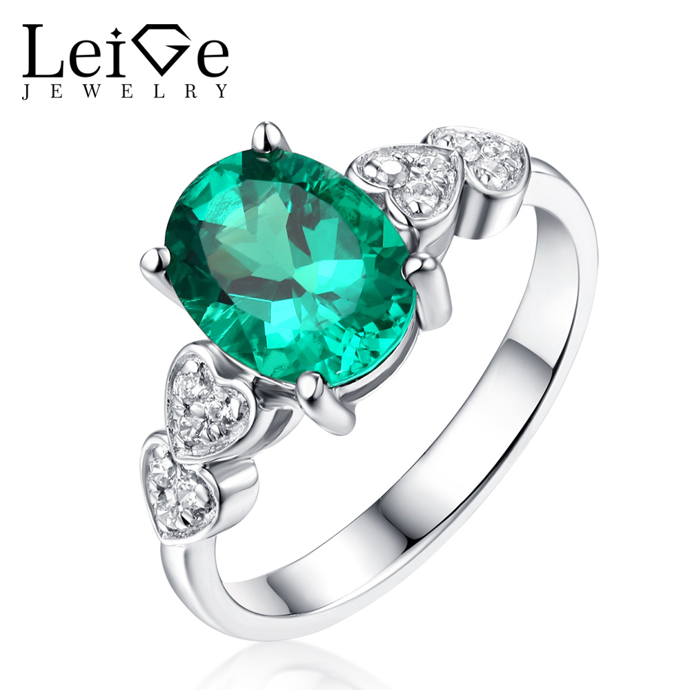 Leige Jewelry Silver 925 Emerald Ring Oval Cut  Classic Wedding Promise Rings with Stones for Women Gem Jewelry Anniversary GiftLeige Jewelry Silver 925 Emerald Ring Oval Cut  Classic Wedding Promise Rings with Stones for Women Gem Jewelry Anniversary Gift
