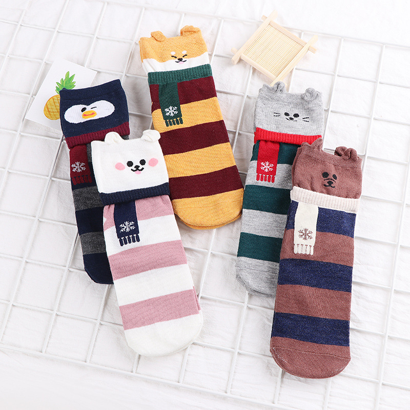 Women Cute   Socks   Bear Cartoon Striped Animal Print Harajuku Warm Comfortable Autumn Winter   Socks   Girl Kawaii Funny Ankle   Socks