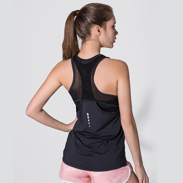 Women Fitness Yoga Top Sexy Mesh Sleeveless Sport T-Shirt Sports Gym Shirts  Workout Running Tank Tops Quick Dry Fitness Clothes d06769cce