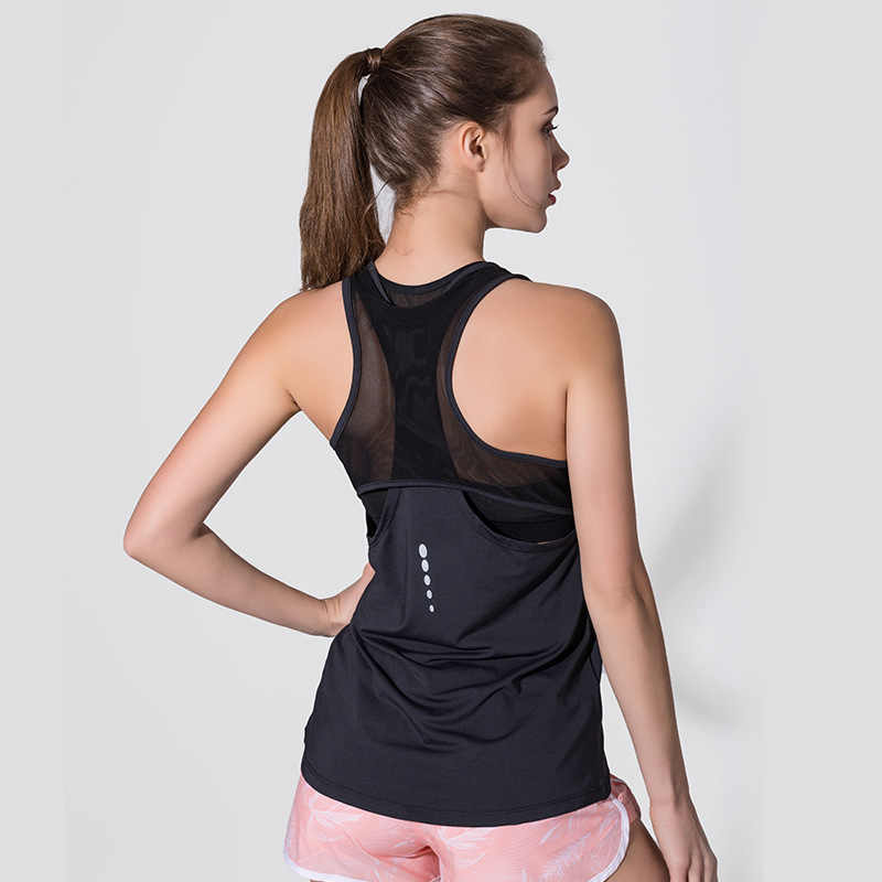72f94aa206 Women Fitness Yoga Top Sexy Mesh Sleeveless Sport T-Shirt Sports Gym Shirts  Workout Running