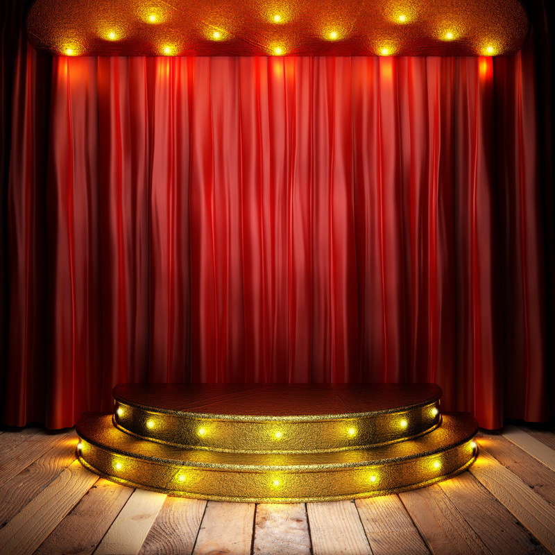 8x8ft Dark Red Curtain Drape Spot Light Golden Stage Steps