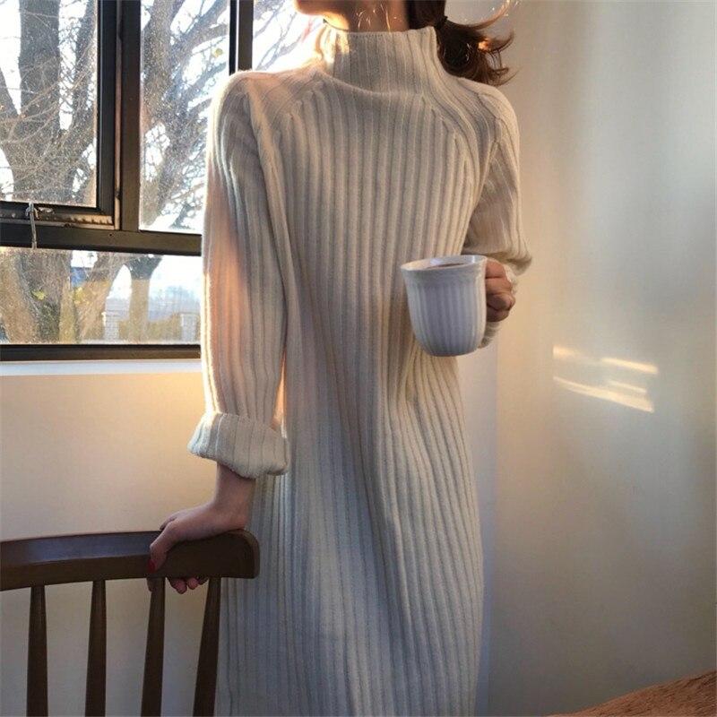 Women Winter Long Sweater Dresses Pullover Turtleneck Knitted Vestidos Loose Plus Size Elegant Sarafan Brief Pit Robe Femme
