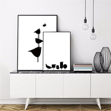 Nordic Minimalism Black And White Bird Line Canvas Painting Art Print Poster Picture Home Wall Decoration Can Be Customized