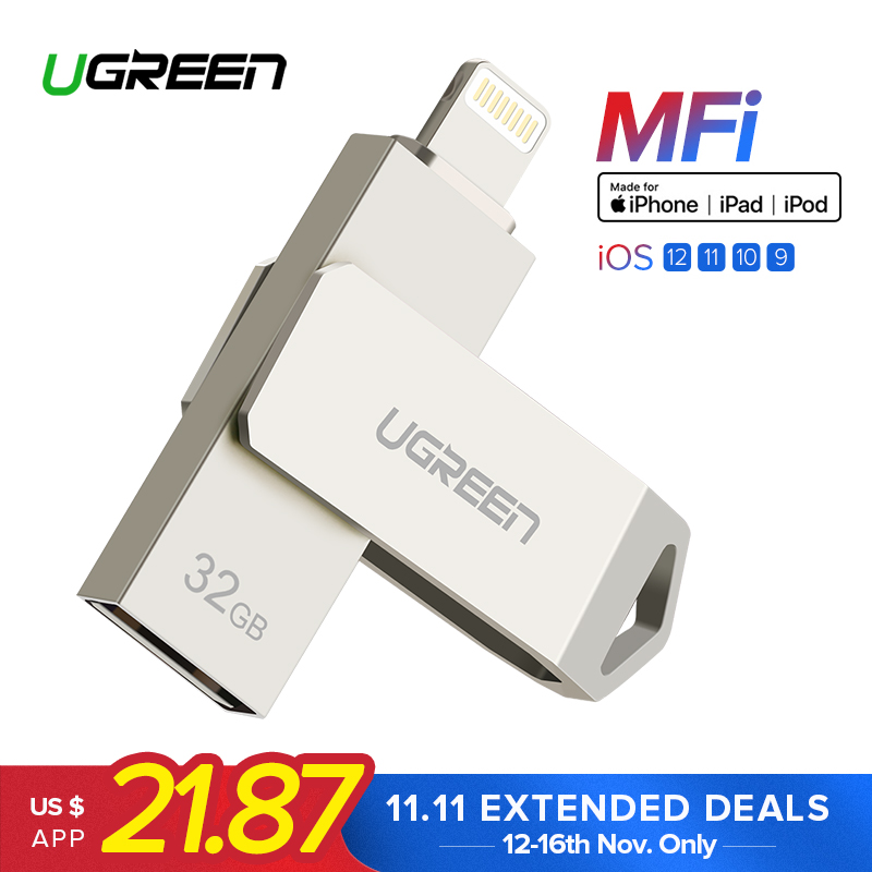 Ugreen USB Flash Drive USB Pendrive for iPhone Xs Max X 8 7 6 iPad 16/32/64/128 GB Memory Stick USB Key MFi Lightning Pen drive цена 2017