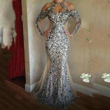 Silver Sequinedชุดราตรีabiye Gownsอย่างเป็นทางการabendkleiderชุดราตรีElegant Long Mermaid vestido de Festa Longo