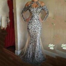 Vestido de noche de lentejuelas plateadas abiye, vestidos formales abendkleider, elegante sirena larga, vestido de fiesta largo