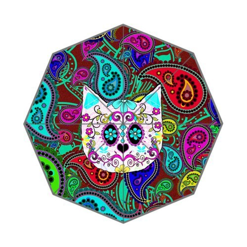 3dd206da5e55 US $23.99 |Custom Auto Foldable Umbrella with Hipster Cat Sugar Skull Teal  Pink Retro Paisley Pattern Background-in Umbrellas from Home & Garden on ...