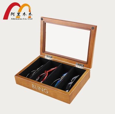 original wood medium size 4 grid sunglasses box glasses storage box with window wooden b ...