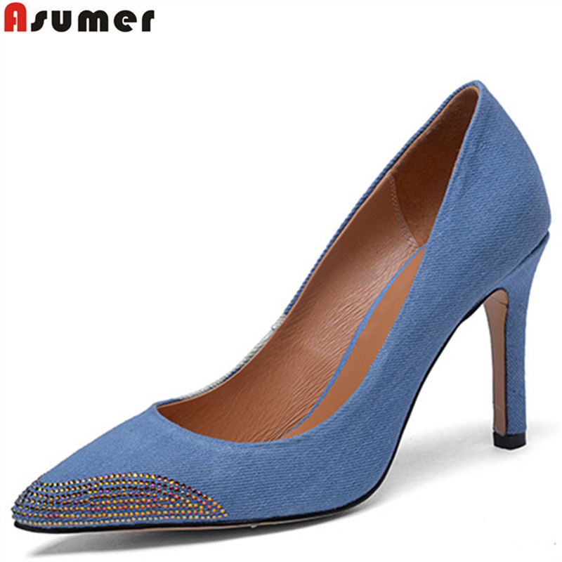 цены ASUMER 2018 fashion new arrival spring autumn shoes woman pointed toe shallow elegant pumps women shoes high heels shoes