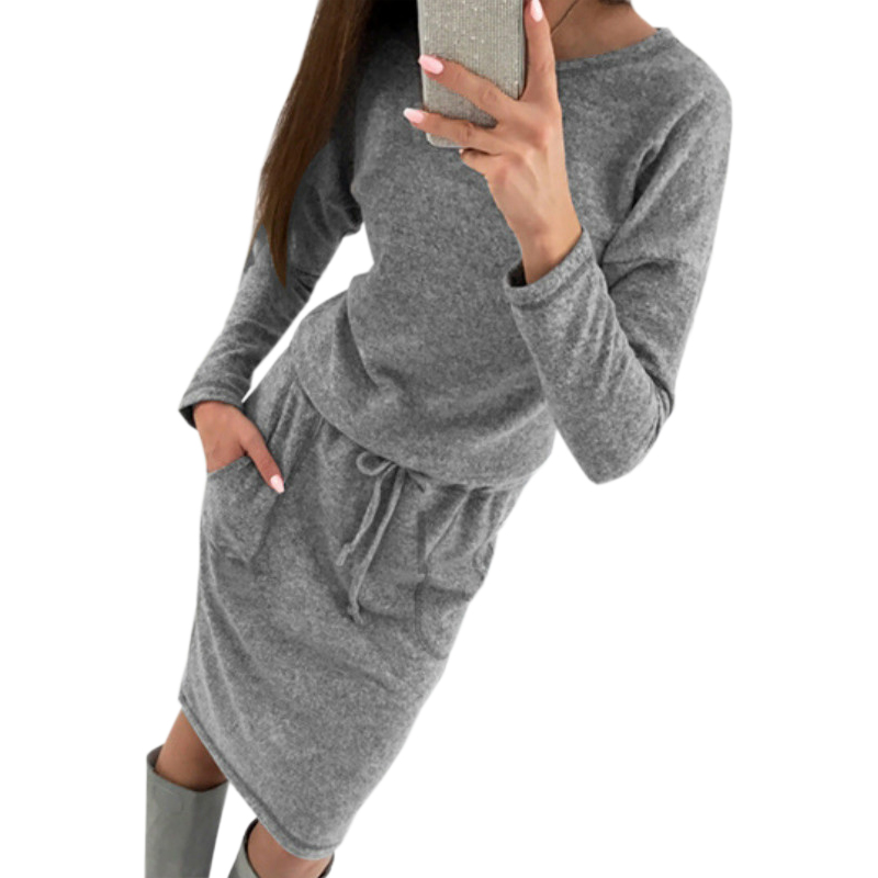 Female Plus Size Pockets Knitted Dresses Women Sweaters Dress Knitting Lady Autumn Winter Long Sleeve Warm Bodycon Midi GV006
