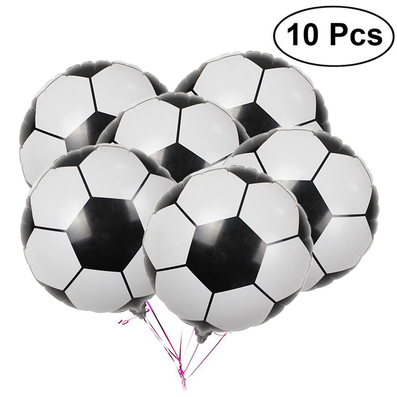 10Pcs 18 Inch Football Aluminum Foil Balloon Soccer Metallic Mylar Balloons Decoration for Birthday Party