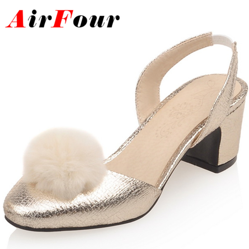 ФОТО AirfourNew Women High Heels Summer Sandals Shoes Woman Golden Shoes Platform Size 33-43 Round Toe Sandals Pumps Party Shoes