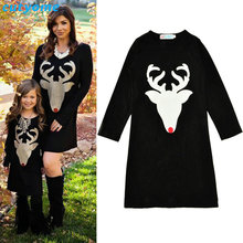 Matching Mother And Daughter Clothes Long Sleeve Dress Christmas Deer Printed Baby Girls Women Dresses Matching Look Outfits