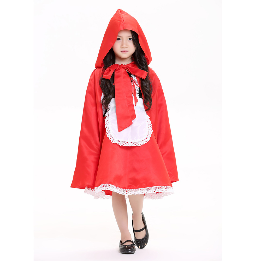 New Little Red Riding Hood cosplay costume Fantasy Outfit With Cloak halloween fancy dress clothing for Kids girl Chirstmas