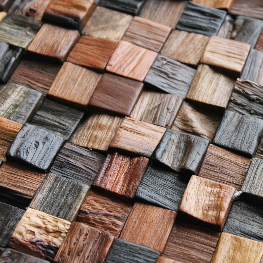 Neue Spezielle Holz Mosaik Fliesen Wand Rostigen Holz ... Badezimmer Mosaik Holz