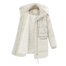 ผู้หญิง Midi Long Down Coat ขนาดใหญ่ลงเสื้อ Lady เป็ดสีขาวลงเสื้อแจ็คเก็ต Hooded Coats หญิงเสื้อแจ็คเก็ตฤดูหนาวหนา outerwear 462