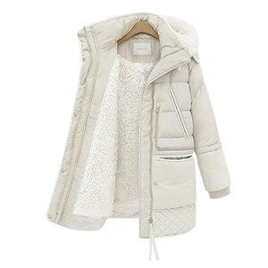 Image 1 - Mulheres midi longo para baixo casaco tamanho grande para baixo jaqueta senhora pato branco para baixo jaqueta com capuz casacos feminino grosso inverno jaqueta outerwear 462