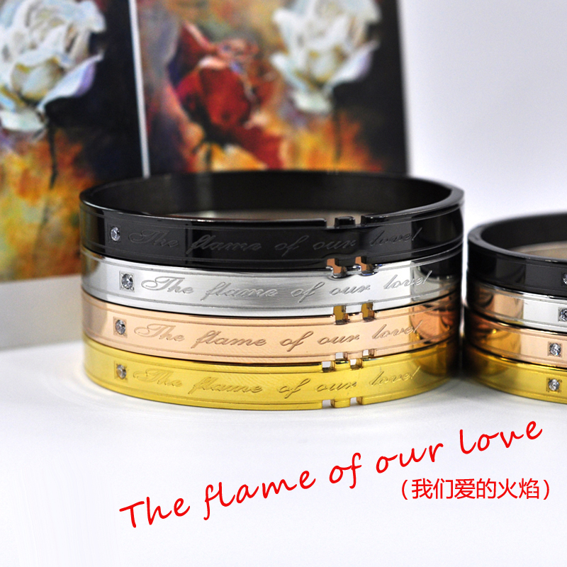 9e50ecd5eb6e6 US $7.04 25% OFF|FYSARA Couple Jewelry Black Buckle Bangle Crystal With  'THE FLAME OF OUR LOVE' Stamp Bangle Bracelet For Women Man Lover Gift-in  ...