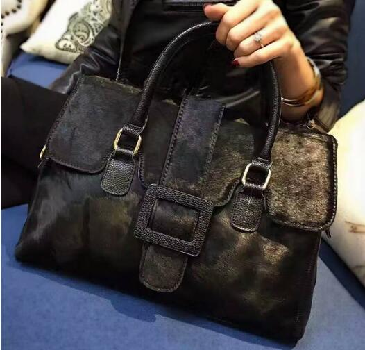 2018 split leather women's handbag real horsehair women's shoulder bag large capacity bag with belt buckle