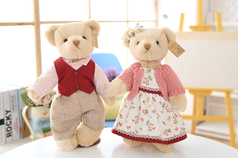 2pcs/lot with steady Teddy Bear Plush soft Stuffed Toy Doll Victoria Teddy Joint Couple Bear Toy Pastoral Parker 2pcs pair lovely couple teddy bear with cloth dress plush toy stuffed baby doll girls