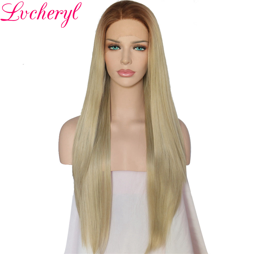 Lvcheryl 2 Tone Brown To Blonde Long Straight Hand Tied Heat Resistant Hair High Density ...
