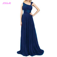One Shoulder Chiffon Evening Dresses Appliques Beaded Long Formal Gowns Sleeveless Sweep Train Party Dress Robe Soiree Dubai