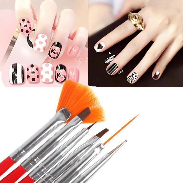 6Pcs/set Professional Black Red Nail Art Brush Design Pen For ...