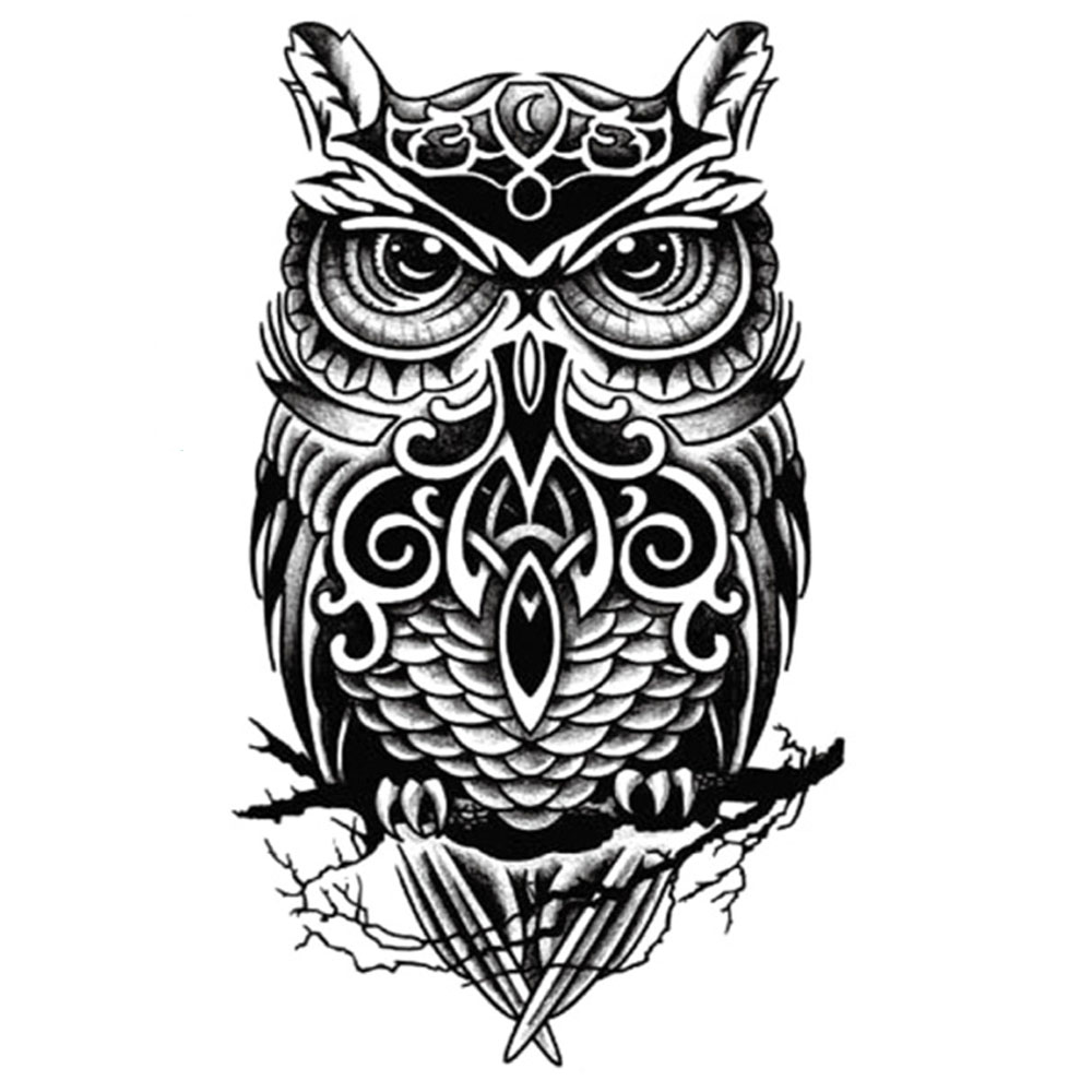 Yeeech Temporary Tattoos Sticker for Women Men Sexy Owl Animal Designs Black Fake Large Arm Leg Body Art Makeup Waterproof