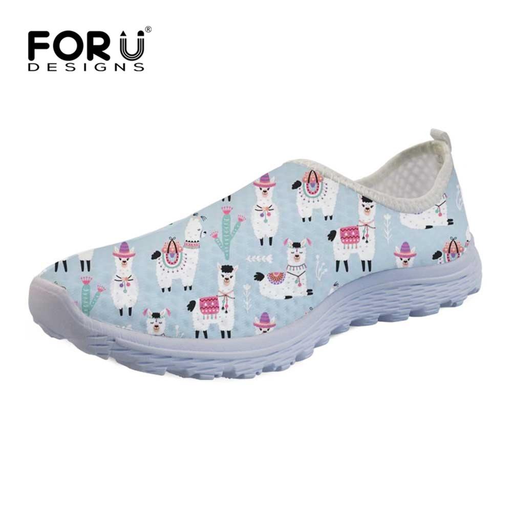 Funny Alpaca Pattern Women's Mesh Shoes