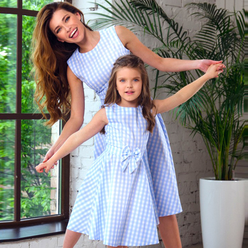 New Mother Daughter Dresses Bow Plaid Family Matching Outfits Blue O-neck Fashion Mom and Daughter Dress Women Kids Clothes children clothing mother and daughter dress xl xxxl lady women infant kids mom girls dress with dancing rabbit beautiful skirt