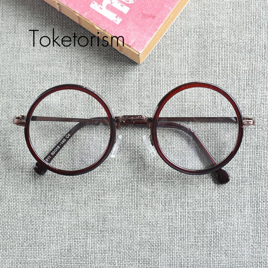 ტოქტოორიზმი რთველი ტენდენცია მამაკაცები ქალები რეტრო მრგვალი ჩარჩო სათვალეების აშკარა ლინზები სათვალეების ბრენდის დიზაინისა W1188
