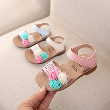 Summer Children Infant Kids Baby Girls Lovely Cute Flower Princess Sandals Shoes (1-6Y)